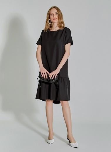 People By Fabrika Volanlı Elbise Siyah